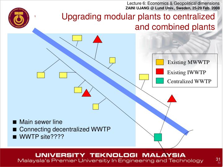 Upgrading modular plants to centralized