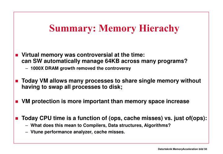 Summary: Memory Hierachy