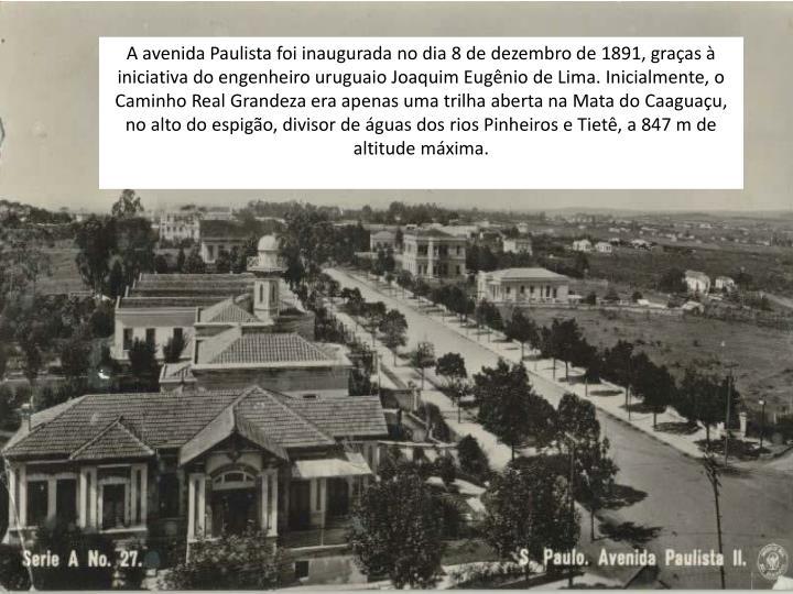 A avenida Paulista foi inaugurada no dia 8 de dezembro de 1891, graças à iniciativa do engenheiro uruguaio Joaquim Eugênio de Lima. Inicialmente, o Caminho Real Grandeza era apenas uma trilha aberta na Mata do