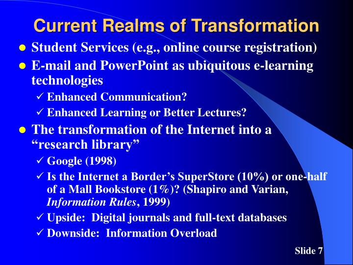Current Realms of Transformation