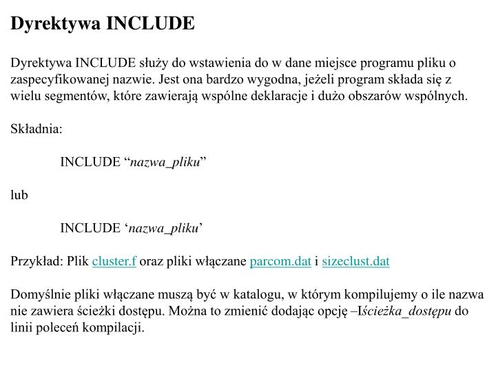 Dyrektywa INCLUDE