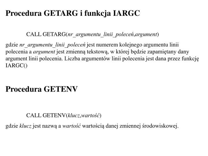 Procedura GETARG i funkcja IARGC