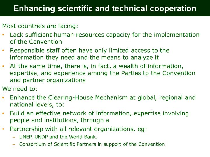 Enhancing scientific and technical cooperation