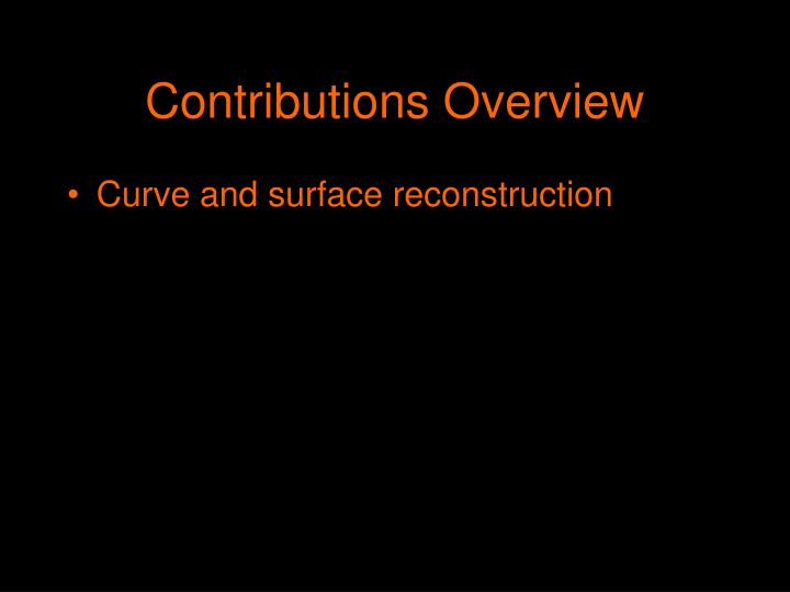 Contributions Overview