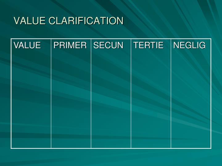 VALUE CLARIFICATION