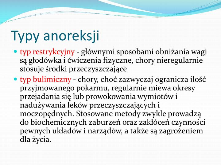 Typy anoreksji