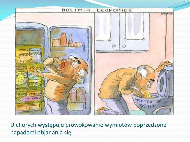 U chorych występuje prowokowanie wymiotów poprzedzone napadami objadania się