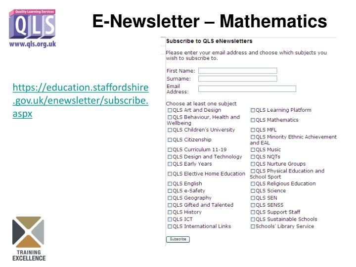 E-Newsletter – Mathematics