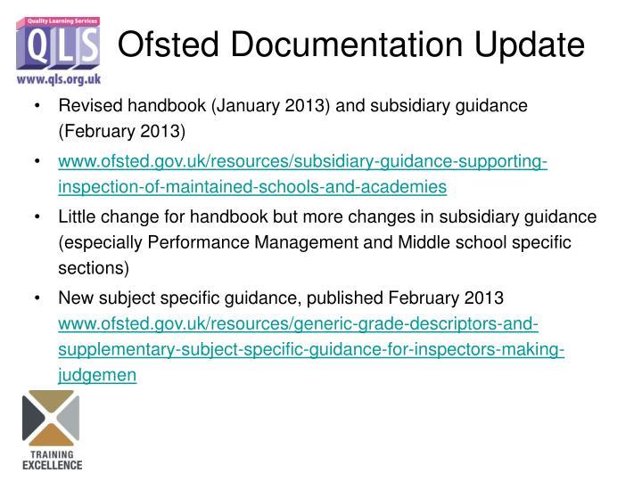 Revised handbook (January 2013) and subsidiary guidance (February 2013)