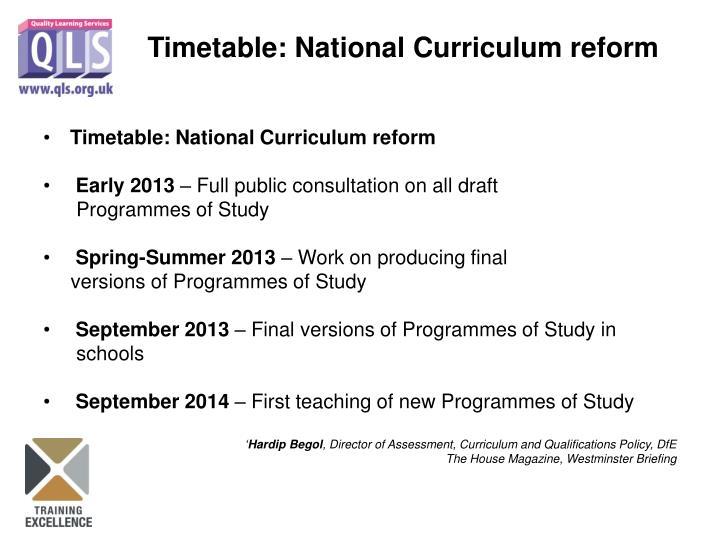 Timetable: National Curriculum reform