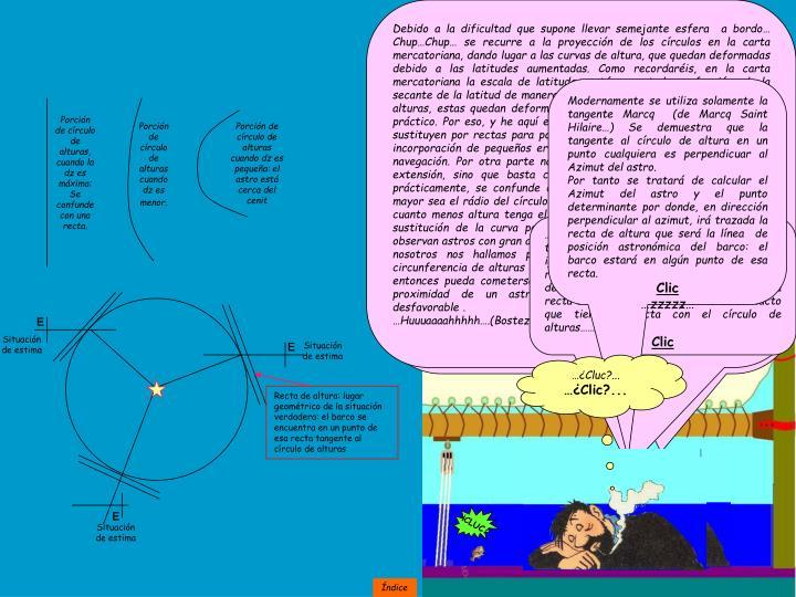 … como curiosidad  os comentaré que para utilizar el método de los círculos de alturas iguales… ¡Hic!... Para poder dibujarlos en una esfera que represente a la tierra en donde una milla equivaliese a un milímetro de longitud de la esfera… un milímetro se puede distinguir a simple vista… Pues haría falta una esfera de muy grandes dimensiones… demasiado grande para llevarla en un barco pues tendría que tener 7 metros de diámetro. Casi nada.