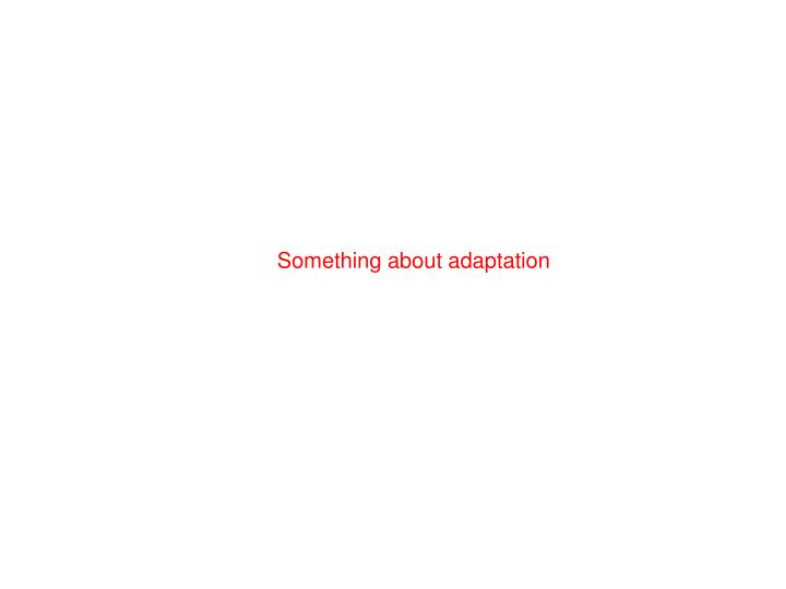Something about adaptation