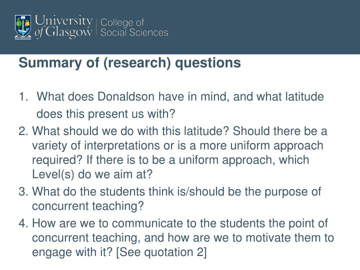 Summary of (research) questions