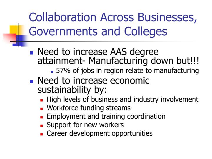 Collaboration Across Businesses, Governments and Colleges