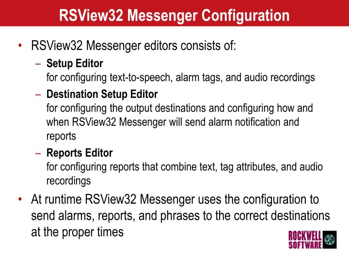 Rsview32 messenger configuration