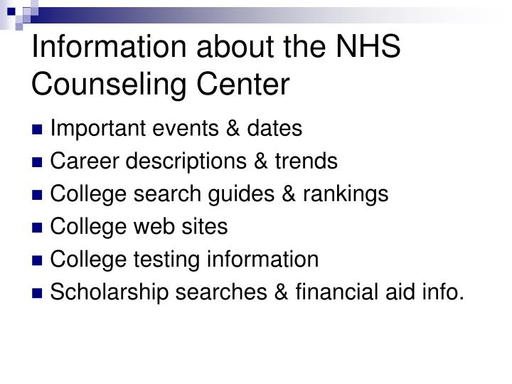 Information about the NHS Counseling Center