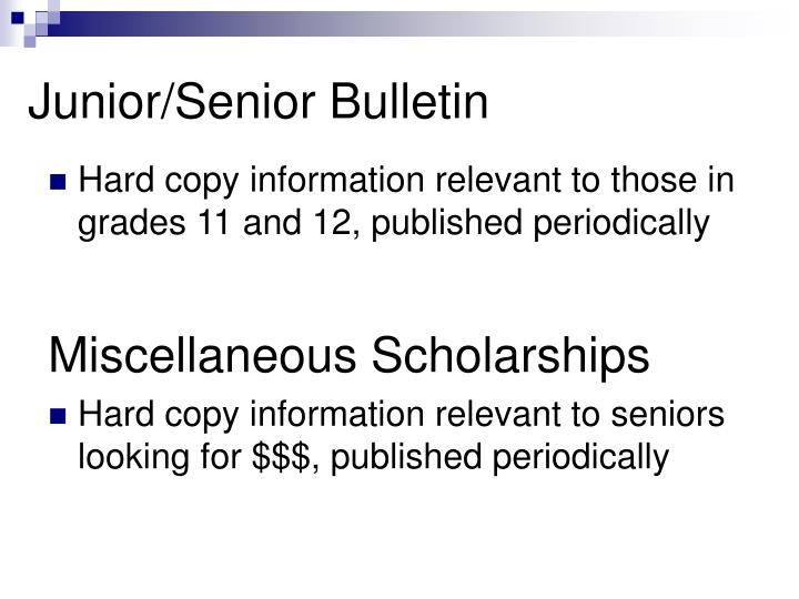 Junior/Senior Bulletin