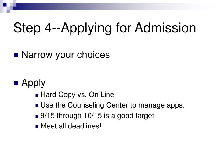 Step 4--Applying for Admission