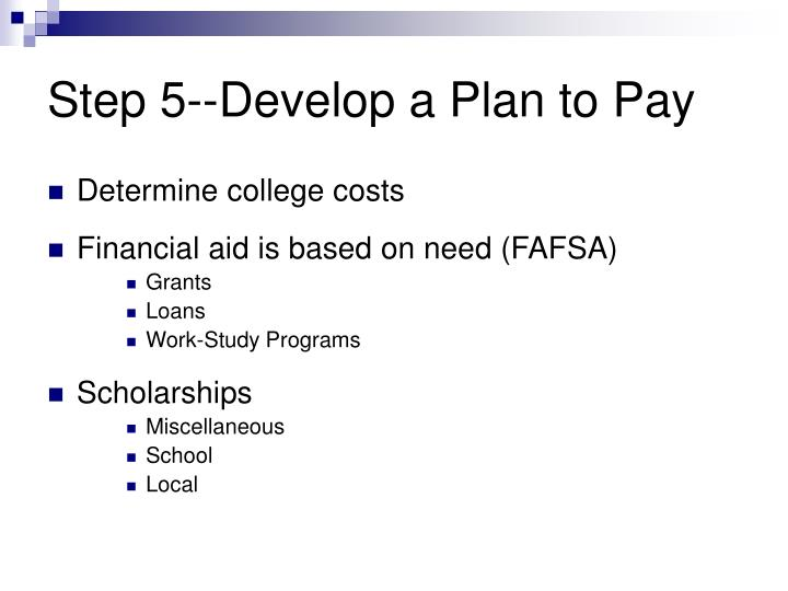 Step 5--Develop a Plan to Pay