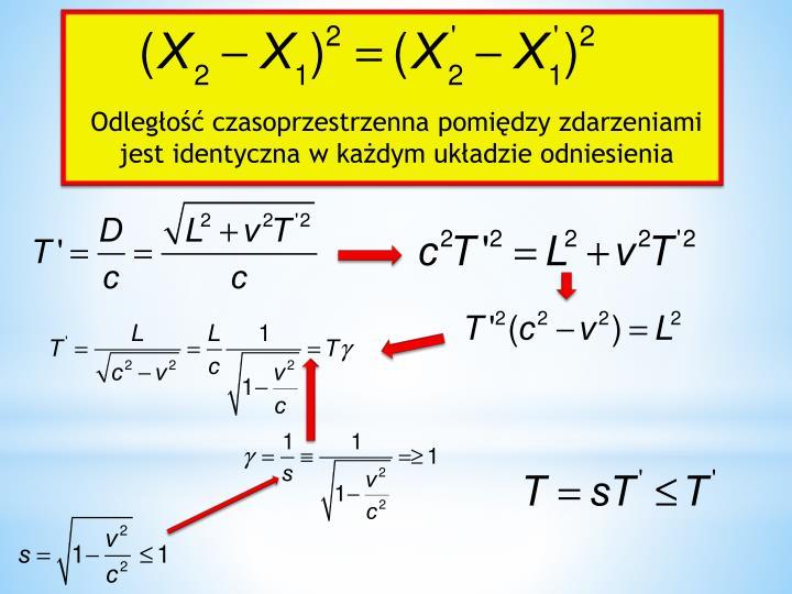 Odległość czasoprzestrzenna pomiędzy zdarzeniami jest identyczna w każdym układzie odniesienia