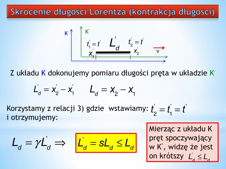 Skrócenie długości Lorentza (kontrakcja długości)