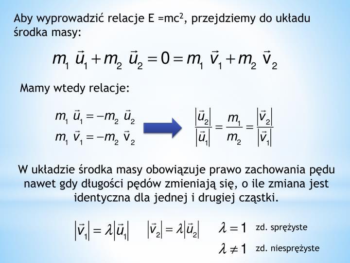 Aby wyprowadzić relacje E =mc