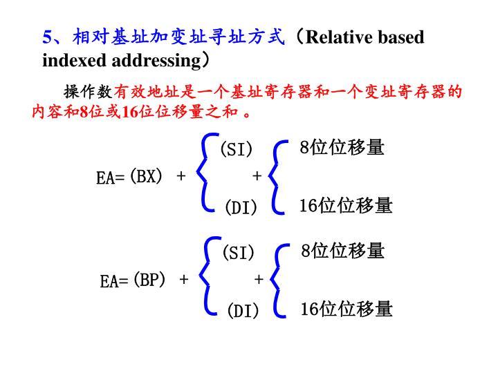 5、相对基址加变址寻址方式