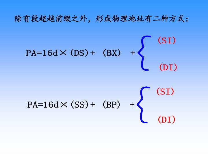 除有段超越前缀之外,形成物理地址有二种方式: