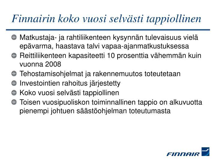 Finnairin koko vuosi selvästi tappiollinen