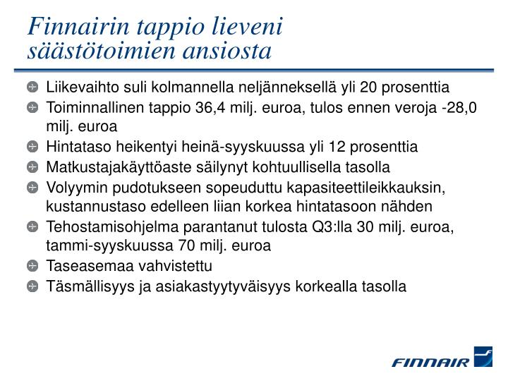 Finnairin tappio lieveni