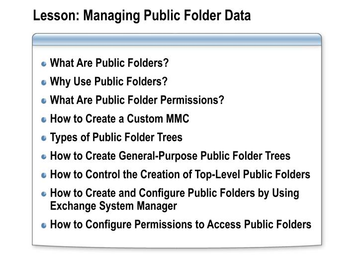 Lesson managing public folder data