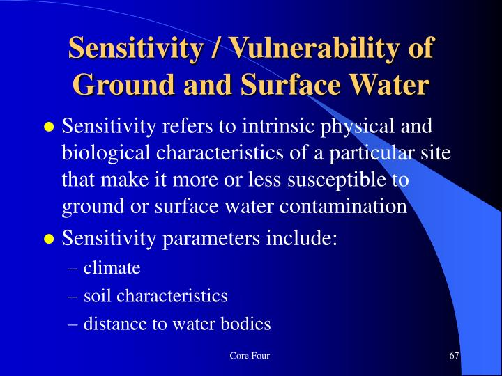 Sensitivity / Vulnerability of Ground and Surface Water