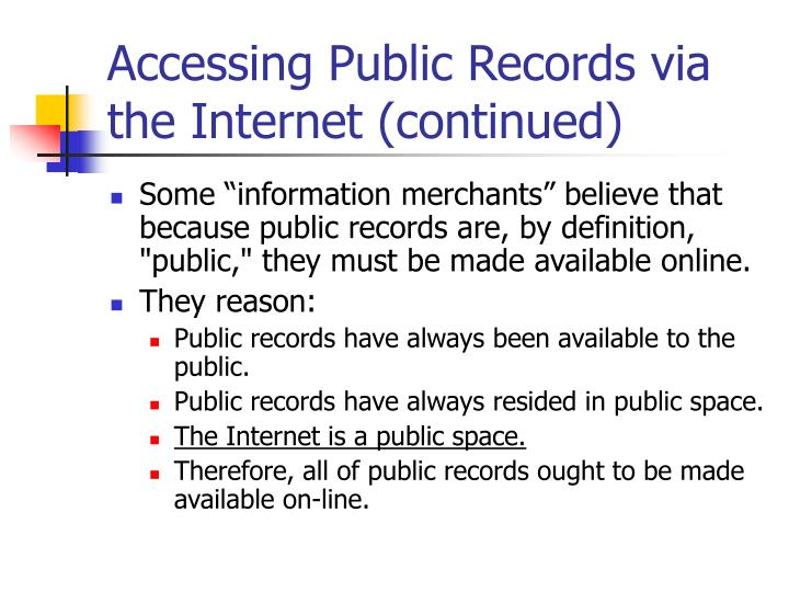 Accessing Public Records via the Internet (continued)