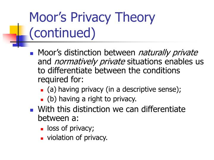Moor's Privacy Theory (continued)