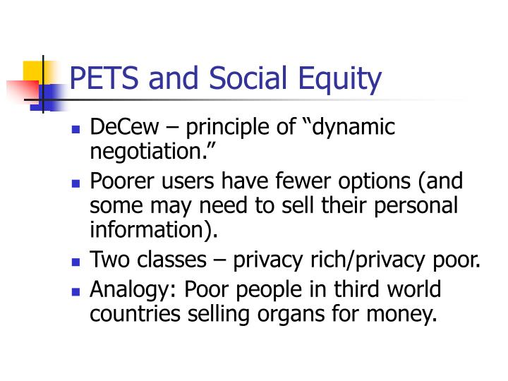PETS and Social Equity