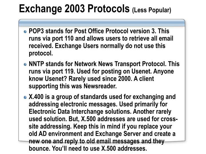Exchange 2003 Protocols