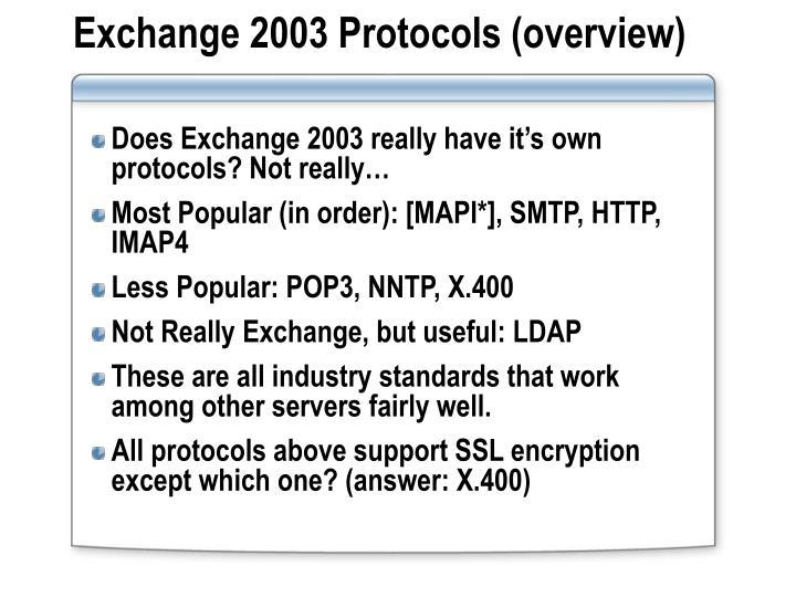 Exchange 2003 Protocols (overview)