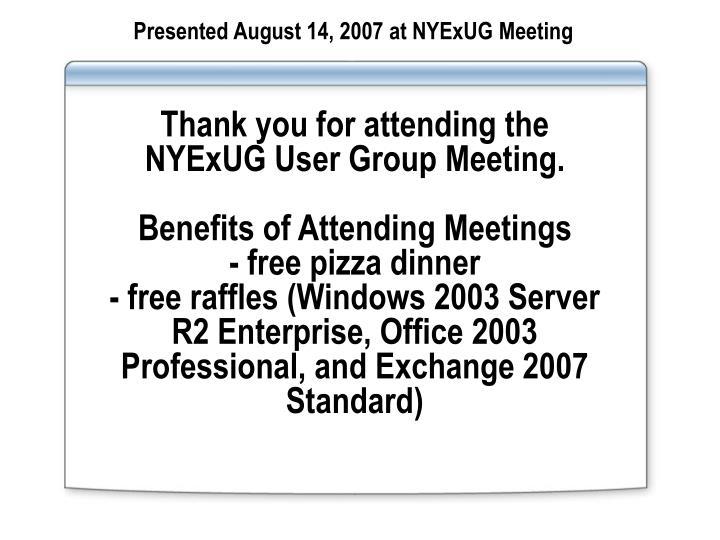 Presented August 14, 2007 at NYExUG Meeting