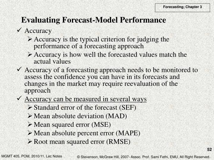 Evaluating Forecast-Model Performance