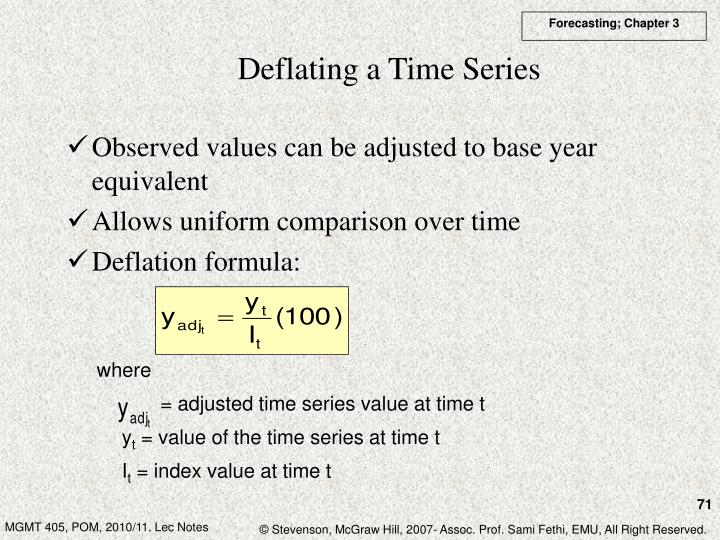 Deflating a Time Series