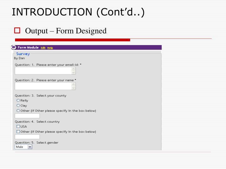 INTRODUCTION (Cont'd..)