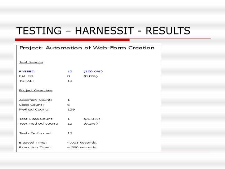 TESTING – HARNESSIT - RESULTS
