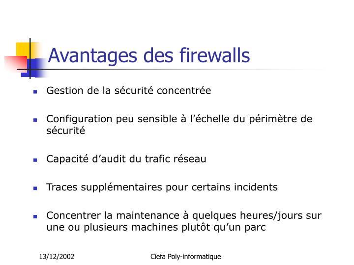 Avantages des firewalls