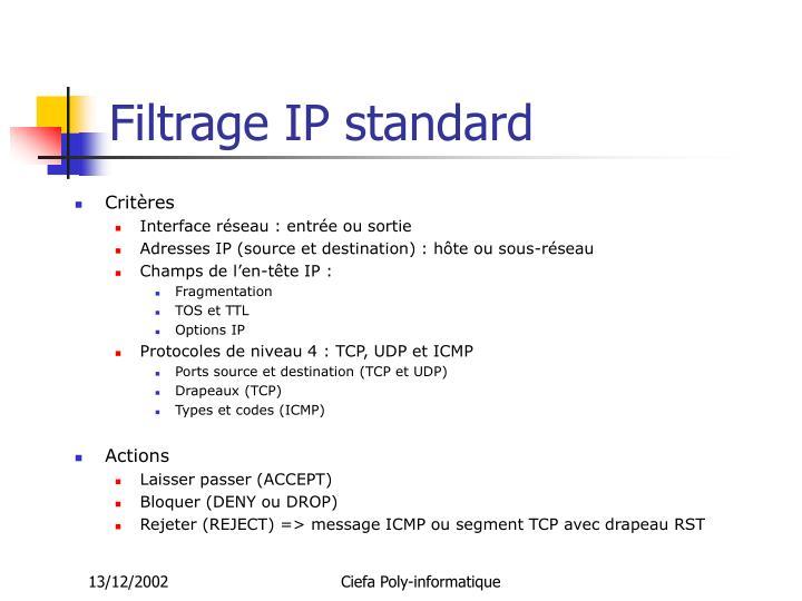 Filtrage IP standard