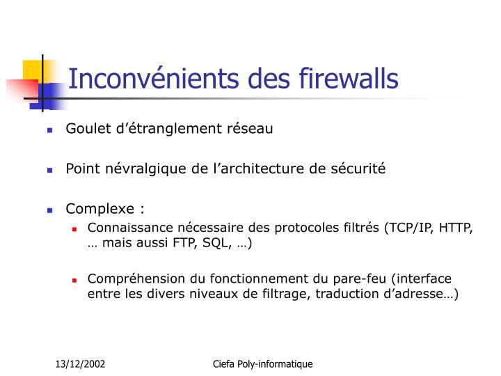 Inconvénients des firewalls