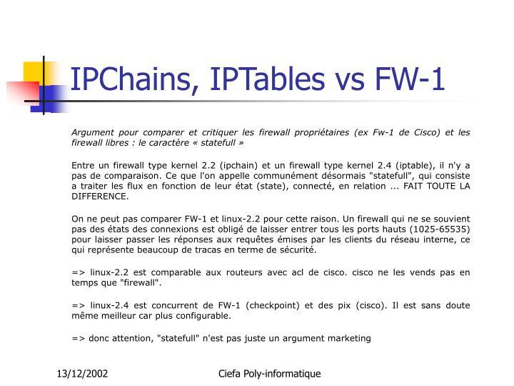 IPChains, IPTables vs FW-1