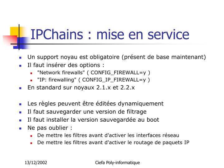 IPChains : mise en service