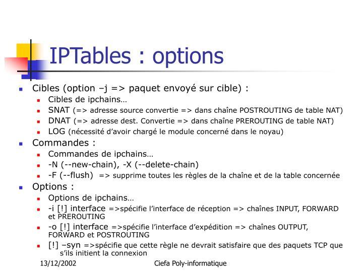 IPTables : options