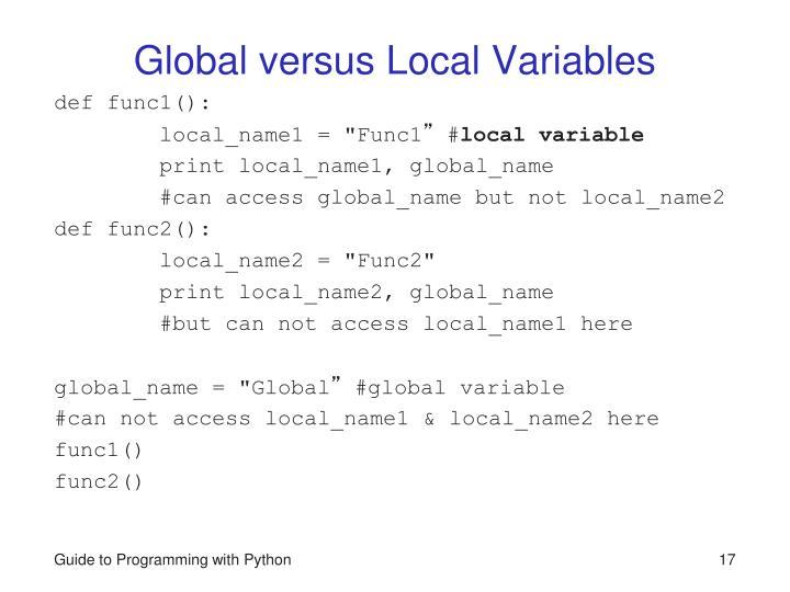 Global versus Local Variables