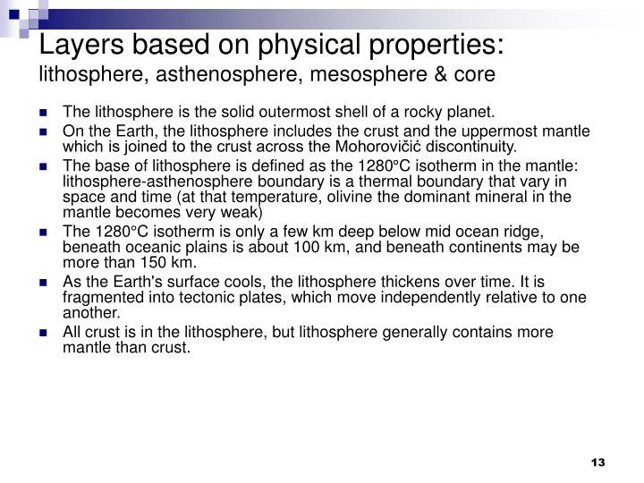 Layers based on physical properties:
